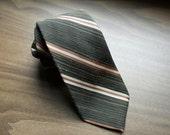 Vintage Givenchy Necktie: 1960s Stripe Tie Brown Black