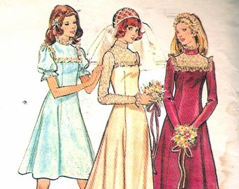 Butterick 3164 Vintage 70s Wedding Bridesmaid Bridal Dress Sewing Pattern B32.5