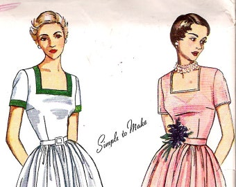 Simplicity 3229 Vintage 50s Square Neck Full Dress Sewing Pattern B36