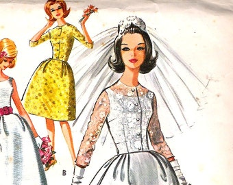 McCall's 6605 Wedding Dress Bridal Gown Sewing Pattern B32