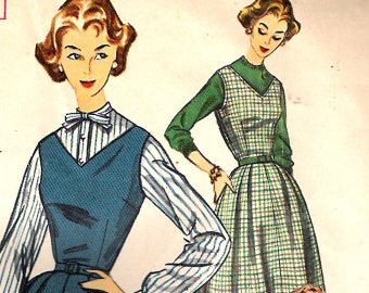 Simplicity 2185 Vintage 50s Jumper Dress Skirt Blouse Sewing Pattern B34