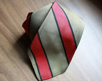 Vintage Silk Necktie: 1960s Rivetz Stripe Tie Red Khaki Black