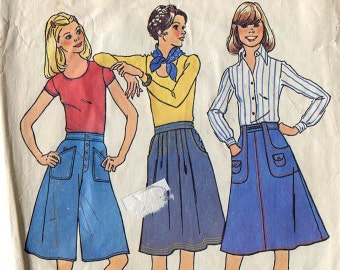 Simplicity 7404 70s Gaucho Pants Skirt Sewing Pattern W25