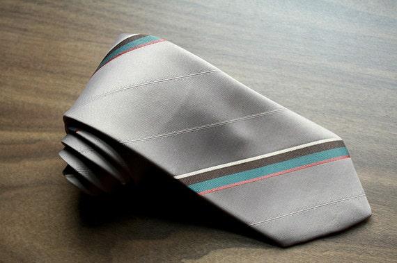 Vintage Egon Von Furstenberg Necktie: 80s Stripe Silk Blend Tie Taupe Teal Salmon
