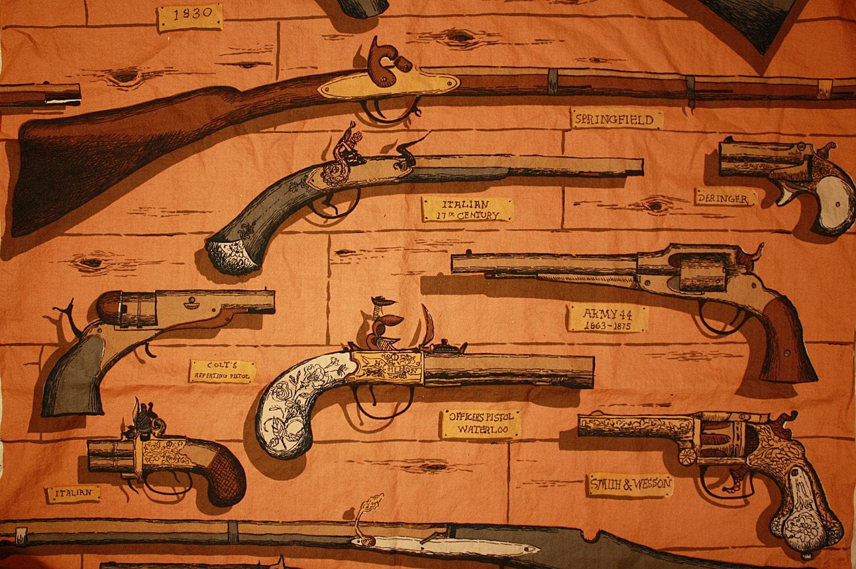 Vintage Cotton Printed Novelty Fabric Guns Rifles By Box241
