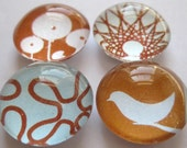 Aqua and Brown Funky Magnets - Round Glass Magnets in a tin