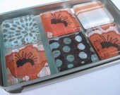 Orange and Turquoise Glass Tile Magnets - Set of 6 in a Slider Tin