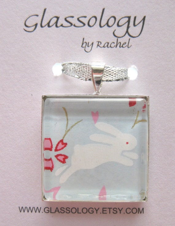 Chiyogami Rabbit Pendant.  Glass Tile Pendant on a Silver Snake Chain.