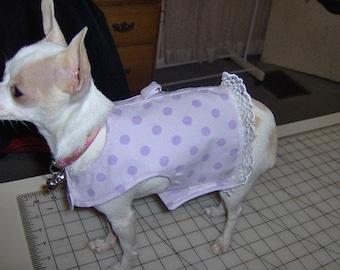 dog vest,dog harness vest w/ D ring, purple polka dots