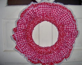wreath,wallhanging wreath, ruffled fabric