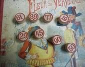 Vintage set of French LOTO bingo tokens