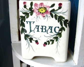 RESERVED   French antique ceramic container