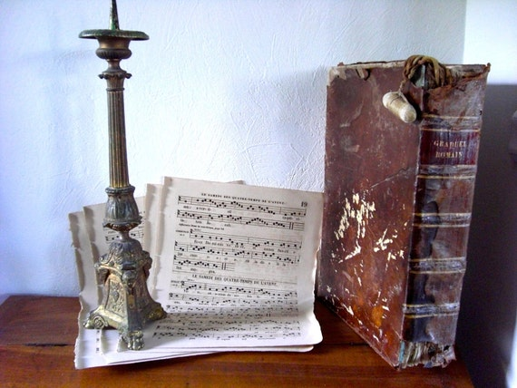 Set of 4 Antique religious sheet music on parchment dated 1870