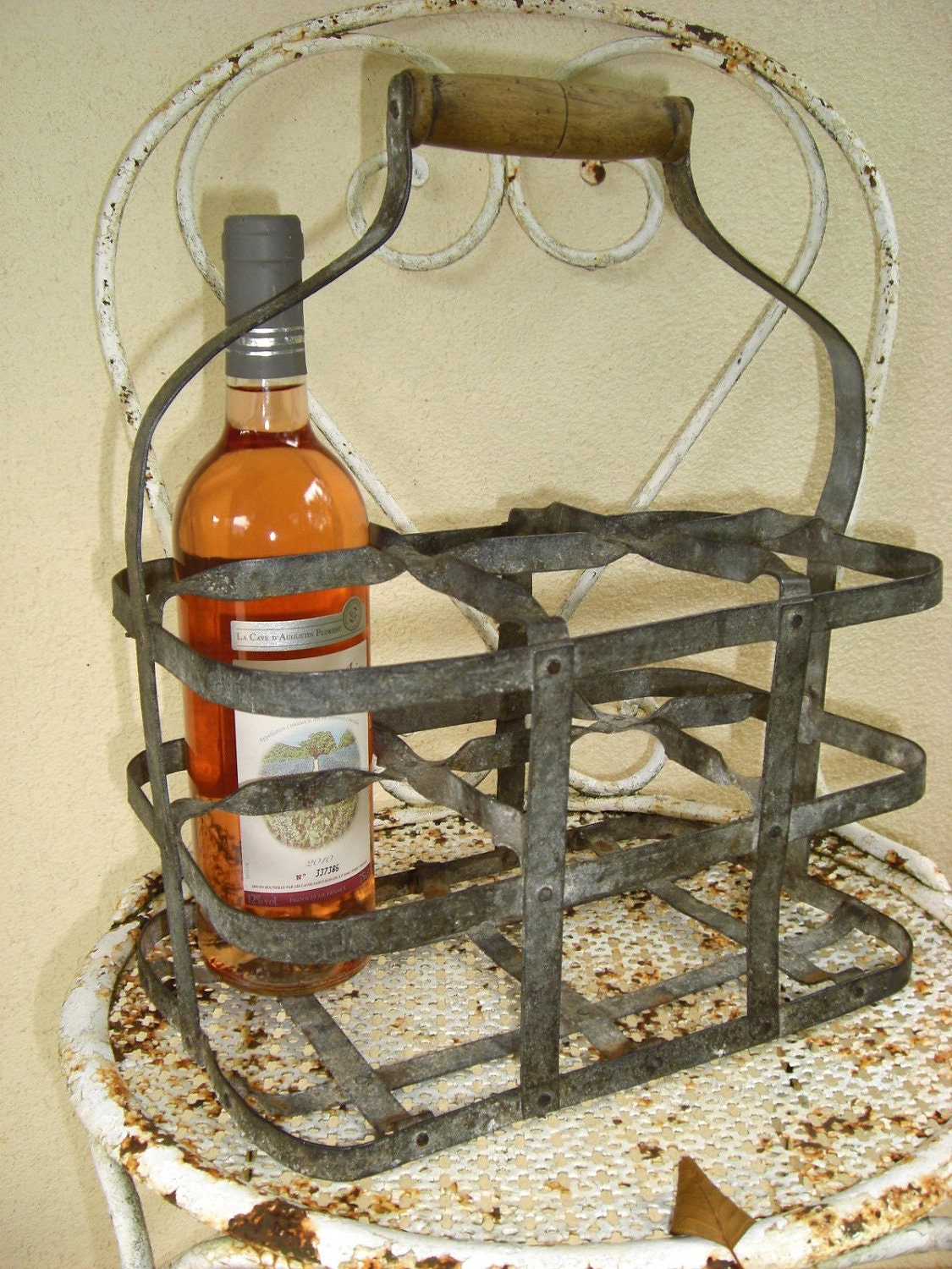 Vintage french metal 6 bottle wine carrier holder rack - Wire wine bottle carrier ...
