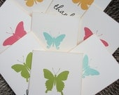 Butterfly Thank You Cards (set of 8) A2  - Hand Stamped