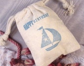 5 Party Birthday Favor Bags - Hand stamped Sailboat