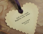 50 Wedding Wish Tree Tags - Scalloped Heart Shape - Personalized - Guest book alternative