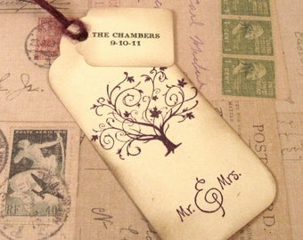 50 Wedding Wish Tree Tags - Hand Stamped - Tree - Personalized