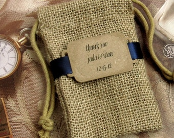 20 Burlap Wedding Favor Bags - Thank you - Personalized - Buckle