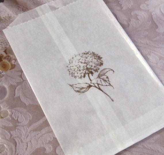 15 Hand stamped Glassine Bags - Wedding Favor - Hydrangea
