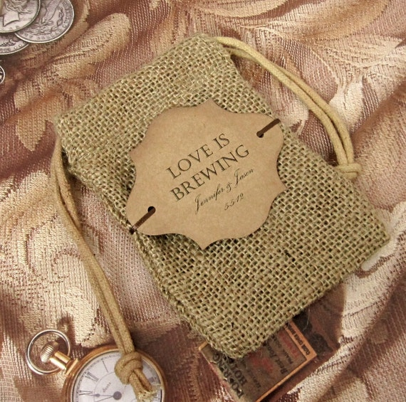 20 Burlap Wedding Favor Bags - Love is brewing - Personalized