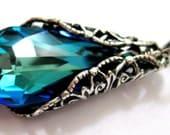 Victorian necklace, Swarovski crystal ocean blue necklace, Blue green necklace, Aqua teal pendant, peacock necklace, Beach wedding jewelry