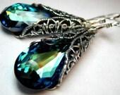 Aqua blue earrings, Ocean blue earrings, Swarovski crystal teal jewelry,Filigree peacock earrings,Victorian earrings,Wedding bridesmaid gift