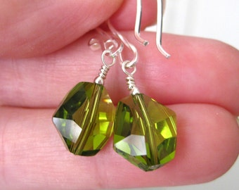 Olive green earrings, Swarovski crystal earrings,  Sterling silver, Green glass earrings, Glass bead earrings, Bridesmaid Wedding jewelry
