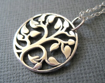 Sterling silver necklace, Tree of Life pendant necklace, Filigree necklace, Heirloom jewelry, Christmas holiday gift jewelry Family necklace