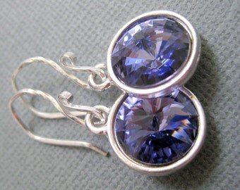Purple earrings, Swarovski crystal earrings, Purple wedding, Glass bead earrings, Bridesmaid gift, Purple jewelry, Sterling Handmade jewelry