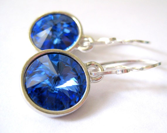 Ocean blue earrings, September birthstone jewelry, Crystal sapphire earrings, Swarovski  jewelry, Bridesmaid earrings, Beach wedding