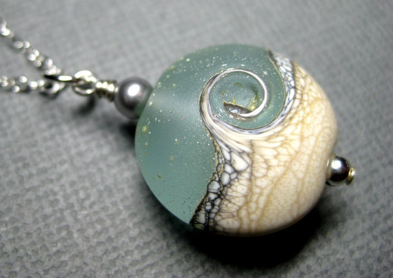 Ocean necklace, Ocean wave aqua pendant necklace, Graduation gift, Lampwork necklace, Sea glass necklace, Handmade beach jewelry gift