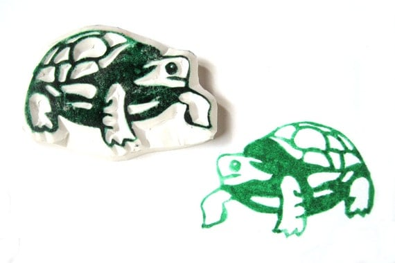 Hand Carved Turtle Stamp, Turtle Rubber Stamp, Unmounted
