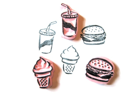 Food Hand Carved Rubber Stamp Set, Hamburger, Soda, and Ice Cream Rubber Stamp Set