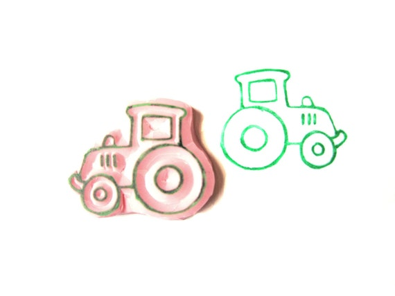 Tractor Hand Carved Rubber Stamp, Unmounted