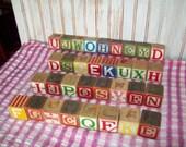 Vintage Wooden Toy Blocks.