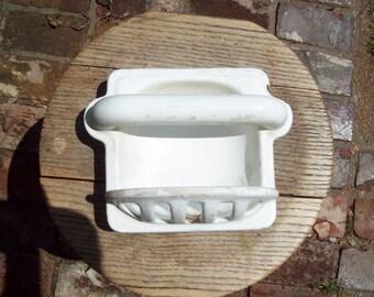 Vintage Cast Iron Porcelain Soapdish.
