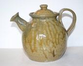 Salt Glazed Pottery Teapot with Tobacco Spit Glaze  Seagrove, NC