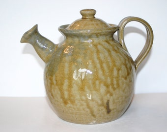 Salt Glazed Pottery Teapot with Tobacco Spit Glaze  Seagrove, NC