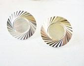Mid Mod Silver tone metal Cuff Links