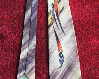 1940's Hand Painted Vintage Tie