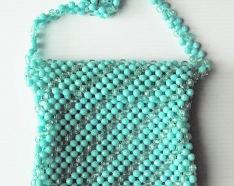 1970's Turquoise Beaded Shoulder Bag made in Hong Kong