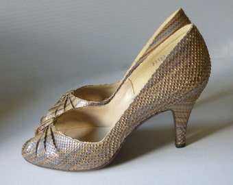 1970's Multicolored Snakeskin Pumps