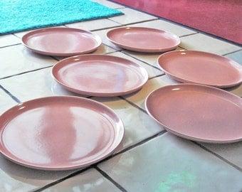 Six Atomic Russel Wright American Modern dinner plates