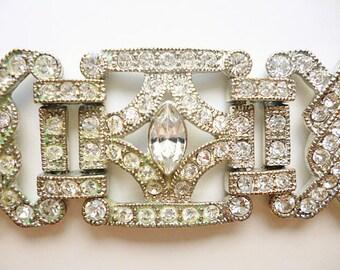 Heavy Art Deco Rhinestone Bracelet