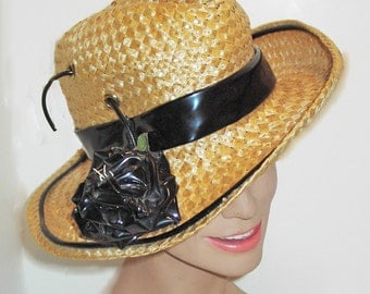 MOD Straw Fedora with Patent leather Rose by Mr. John