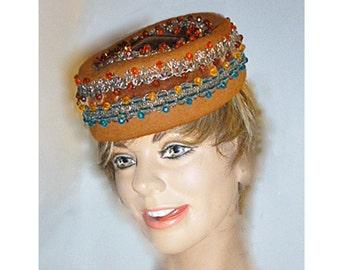 Dachette1960's jeweled pillbox hat by designer Lilly Dache