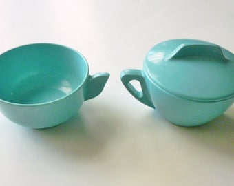 1950s Turquoise Sugar and Sweetner set