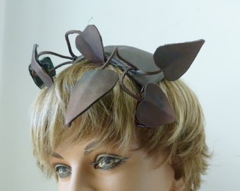 1950s leafy olive green fascinator Saks Fifth Ave.