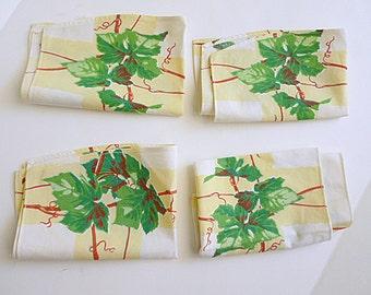 Four 1940's Ivy Print linen napkins